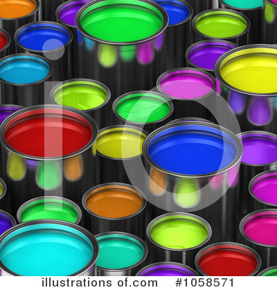 Royalty-Free (RF) Paint Buckets Clipart Illustration by stockillustrations - Stock Sample #1058571