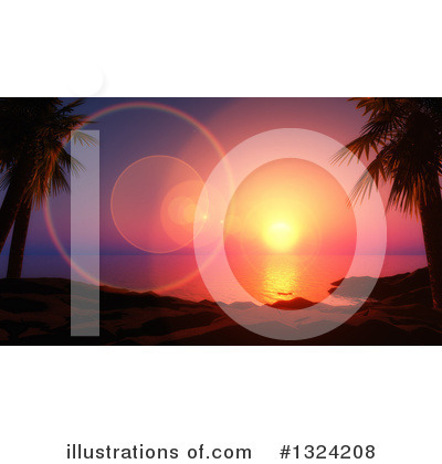 Tropical Beach Clipart #1324208 by KJ Pargeter