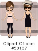 Royalty-Free (RF) Paper Doll Clipart Illustration #50137