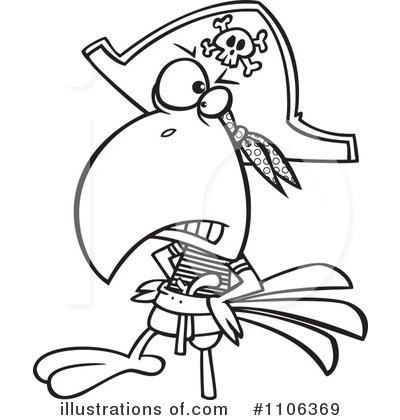 Pirate Parrot Clipart Black And White