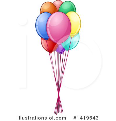Royalty-Free (RF) Party Balloons Clipart Illustration by Liron Peer - Stock Sample #1419643