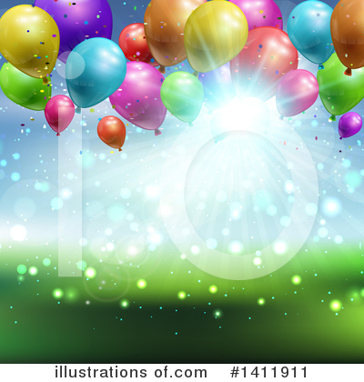 Party Balloons Clipart #1411911 by KJ Pargeter