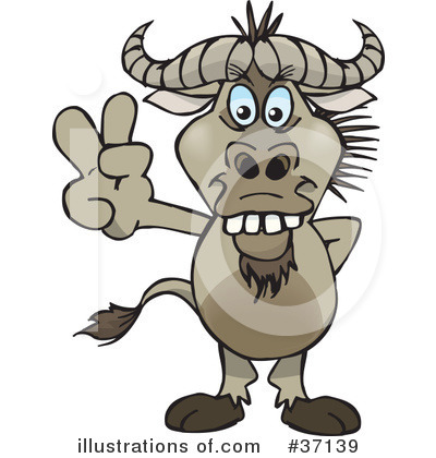 Wildebeest Clipart #37139 by Dennis Holmes Designs