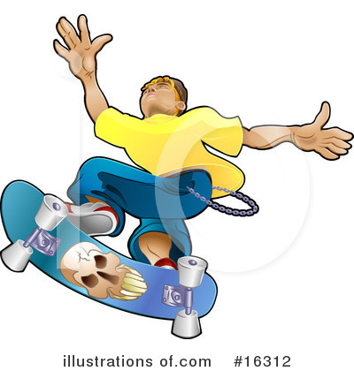 Skateboarding Clipart #16312 by AtStockIllustration