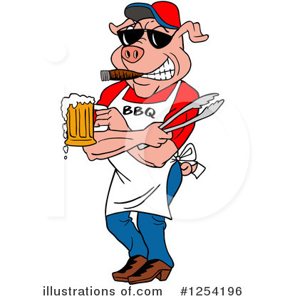 Royalty-Free (RF) Pig Clipart Illustration by LaffToon - Stock Sample #1254196