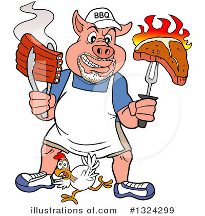 Royalty-Free (RF) Pig Clipart Illustration by LaffToon - Stock Sample #1324299