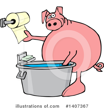 Royalty-Free (RF) Pig Clipart Illustration by djart - Stock Sample #1407367