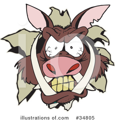 Boar Clipart #34805 by Dennis Holmes Designs
