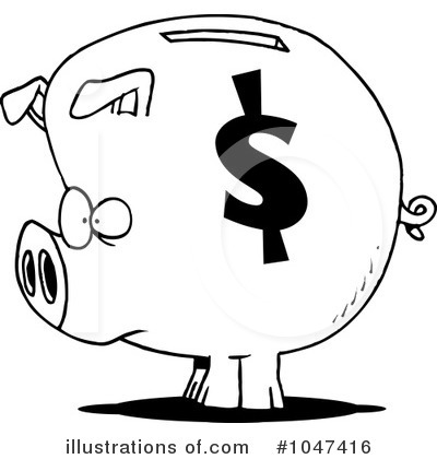 Piggy Bank Clipart #1047416 by toonaday