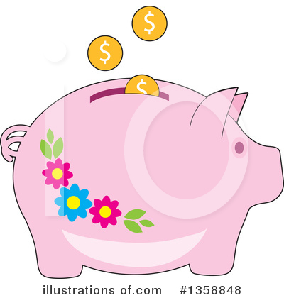Piggy Bank Clipart #1358848 by Maria Bell