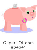 Royalty-Free (RF) Piggy Bank Clipart Illustration #64641