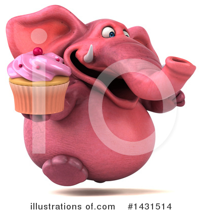 Pink Elephant Clipart #1431514 by Julos