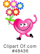 Royalty-Free (RF) Pink Heart Character Clipart Illustration #48436