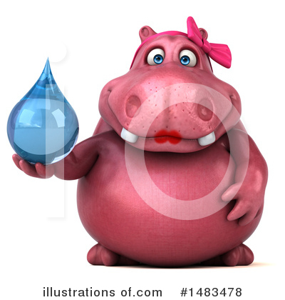 Royalty-Free (RF) Pink Hippo Clipart Illustration by Julos - Stock Sample #1483478