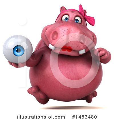 Royalty-Free (RF) Pink Hippo Clipart Illustration by Julos - Stock Sample #1483480