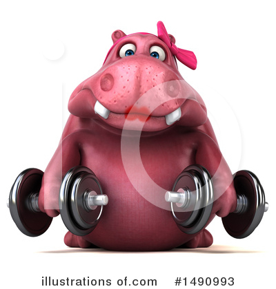 Pink Hippo Clipart #1490993 by Julos