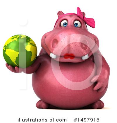 Royalty-Free (RF) Pink Hippo Clipart Illustration by Julos - Stock Sample #1497915