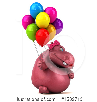 Pink Hippo Clipart #1532713 by Julos