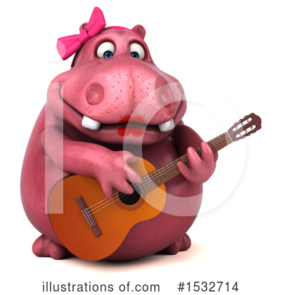 Pink Hippo Clipart #1532714 by Julos