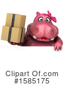 Pink Hippo Clipart #1585175 by Julos