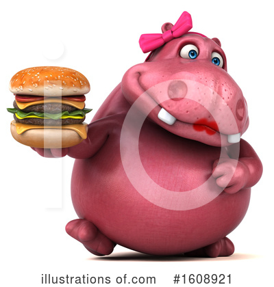 Pink Hippo Clipart #1608921 by Julos