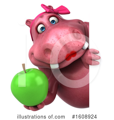 Pink Hippo Clipart #1608924 by Julos
