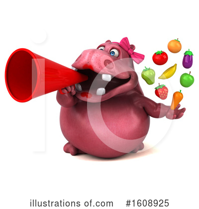 Pink Hippo Clipart #1608925 by Julos