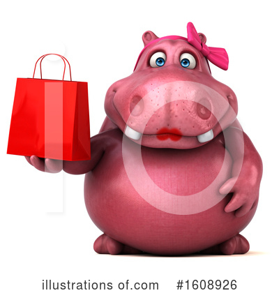 Pink Hippo Clipart #1608926 by Julos