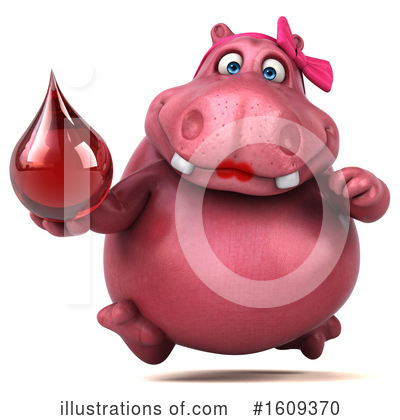 Royalty-Free (RF) Pink Hippo Clipart Illustration by Julos - Stock Sample #1609370