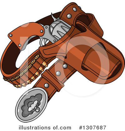 Royalty-Free (RF) Pistol Clipart Illustration by Pushkin - Stock Sample #1307687
