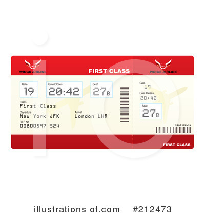 Royalty-Free (RF) Plane Ticket Clipart Illustration by michaeltravers - Stock Sample #212473