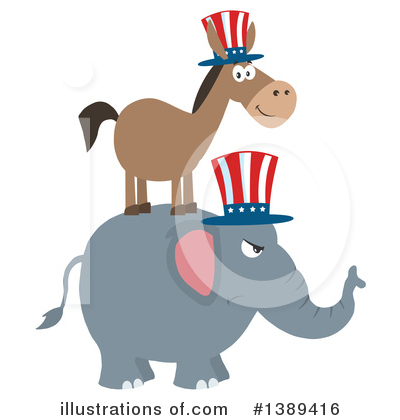 Democratic Donkey Clipart #1389416 by Hit Toon