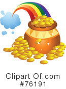 Royalty-Free (RF) Pot Of Gold Clipart Illustration #76191