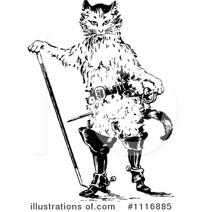 Royalty-Free (RF) Puss In Boots Clipart Illustration by Prawny Vintage - Stock Sample #1116885