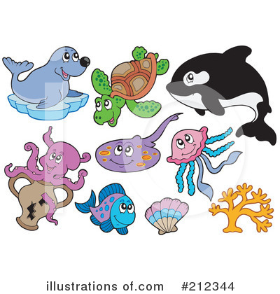 Royalty-Free (RF) Ray Fish Clipart Illustration by visekart - Stock Sample #212344