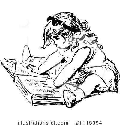 Reading Clipart #1115094 by Prawny Vintage