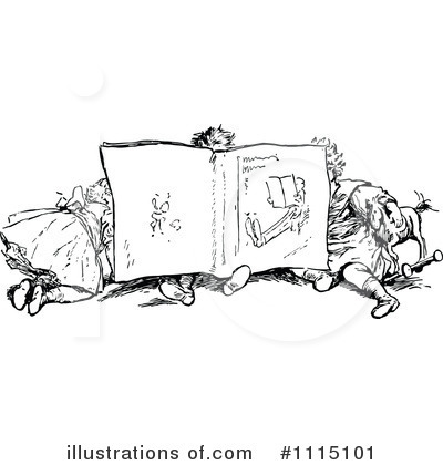 Reading Clipart #1115101 by Prawny Vintage