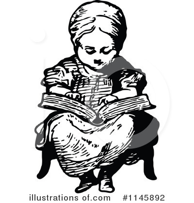 Reading Clipart #1145892 by Prawny Vintage