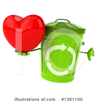 Recycle Bin Character Clipart #1301100 by Julos