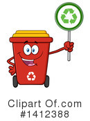 Royalty-Free (RF) Red Recycle Bin Clipart Illustration #1412388