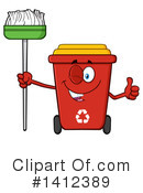 Royalty-Free (RF) Red Recycle Bin Clipart Illustration #1412389