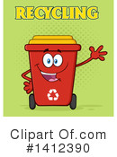 Royalty-Free (RF) Red Recycle Bin Clipart Illustration #1412390