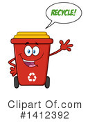 Royalty-Free (RF) Red Recycle Bin Clipart Illustration #1412392
