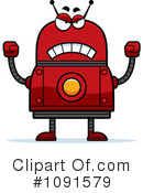 Royalty-Free (RF) Red Robot Clipart Illustration #1091579