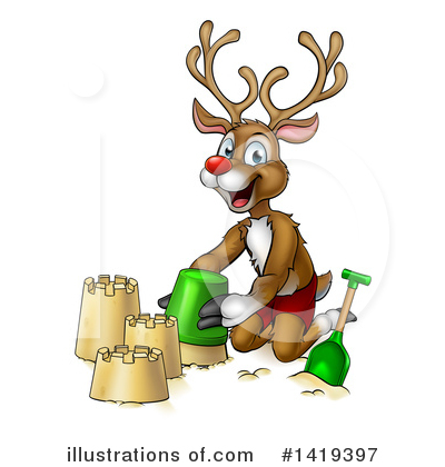Royalty-Free (RF) Reindeer Clipart Illustration by AtStockIllustration - Stock Sample #1419397