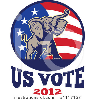 Republican Elephant Clipart #1117157 by patrimonio