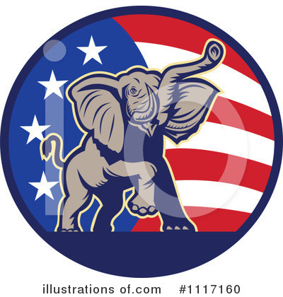 Republican Elephant Clipart #1117160 by patrimonio