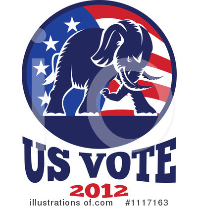 Republican Elephant Clipart #1117163 by patrimonio