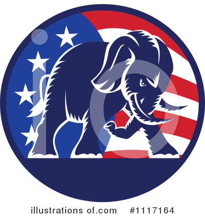 Republican Elephant Clipart #1117164 by patrimonio