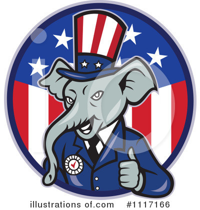 Republican Elephant Clipart #1117166 by patrimonio